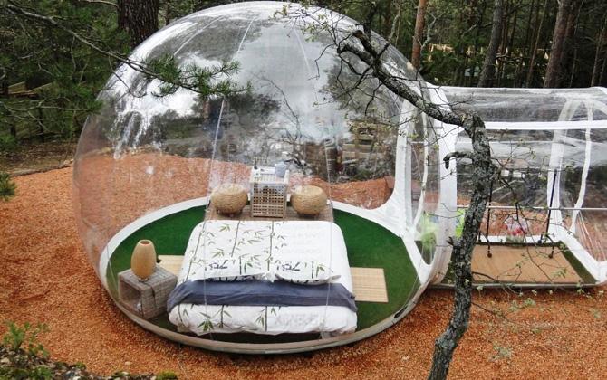 Şeffaf balonun içinde doğayla iç içe bir tatil deneyimi !